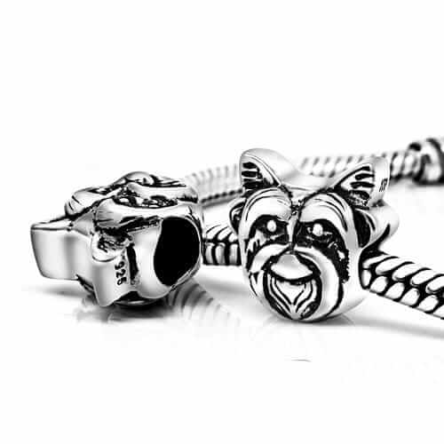 Yorkie Dog Face 925 Sterling Silver Bead Fits Pandora